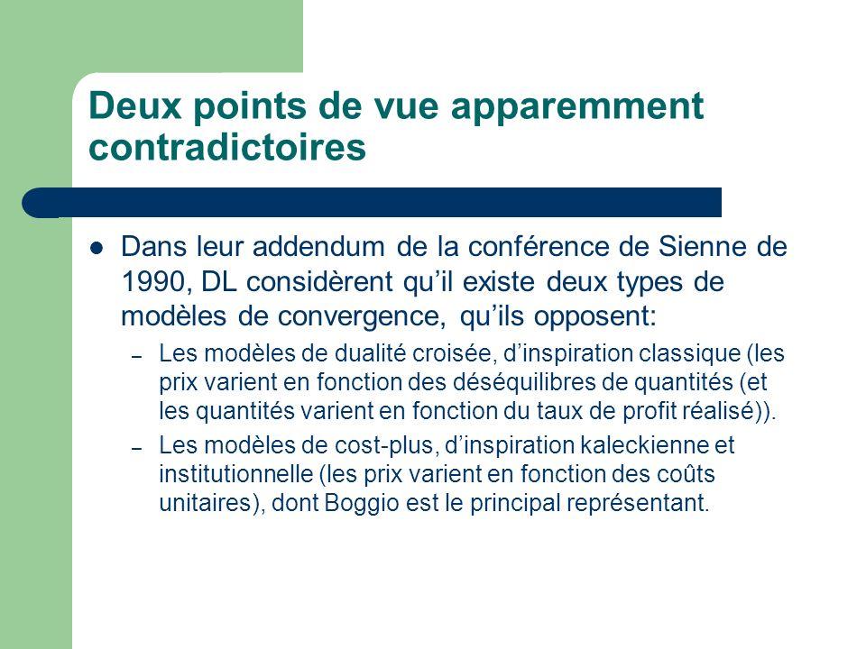 Deux points de vue apparemment contradictoires Dans leur addendum de la conférence de Sienne de 1990, DL considèrent quil existe deux types de modèles