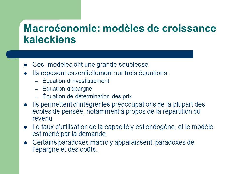 Macroéonomie: modèles de croissance kaleckiens Ces modèles ont une grande souplesse Ils reposent essentiellement sur trois équations: – Équation dinve