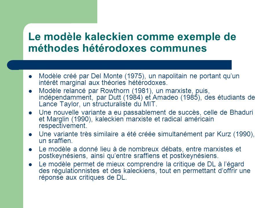 Le modèle kaleckien comme exemple de méthodes hétérodoxes communes Modèle créé par Del Monte (1975), un napolitain ne portant quun intérêt marginal au