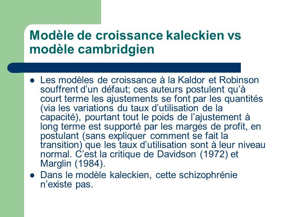 Modèle de croissance kaleckien vs modèle cambridgien Les modèles de croissance à la Kaldor et Robinson souffrent dun défaut; ces auteurs postulent quà