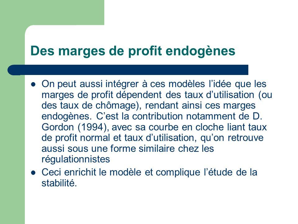 Des marges de profit endogènes On peut aussi intégrer à ces modèles lidée que les marges de profit dépendent des taux dutilisation (ou des taux de chô