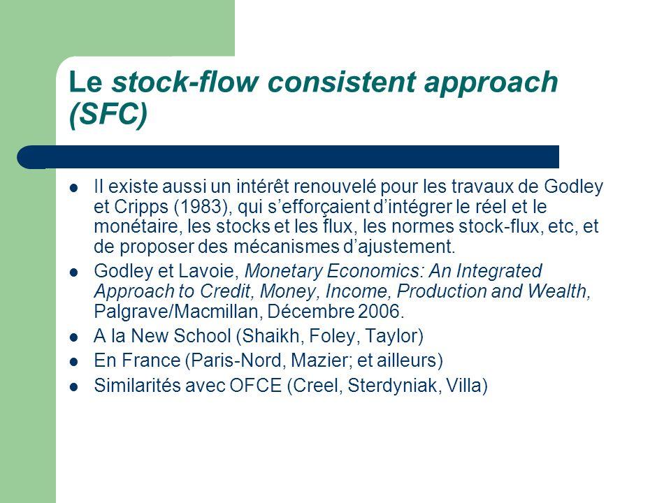 Le stock-flow consistent approach (SFC) Il existe aussi un intérêt renouvelé pour les travaux de Godley et Cripps (1983), qui sefforçaient dintégrer l