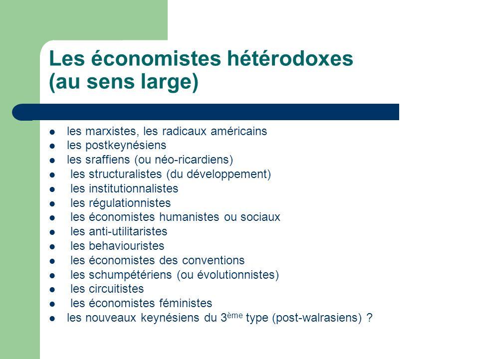 Les économistes hétérodoxes (au sens large) les marxistes, les radicaux américains les postkeynésiens les sraffiens (ou néo-ricardiens) les structural