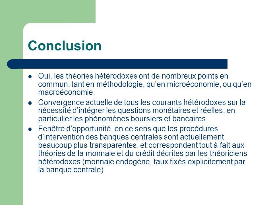 Conclusion Oui, les théories hétérodoxes ont de nombreux points en commun, tant en méthodologie, quen microéconomie, ou quen macroéconomie. Convergenc