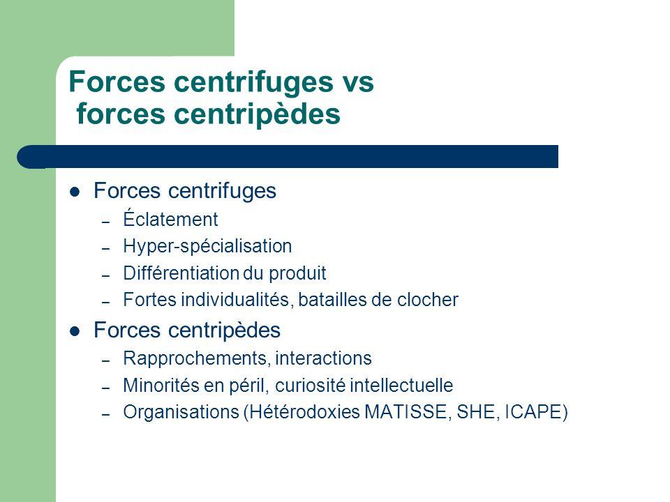 Forces centrifuges vs forces centripèdes Forces centrifuges – Éclatement – Hyper-spécialisation – Différentiation du produit – Fortes individualités,