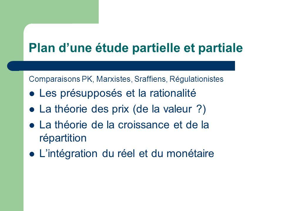 Plan dune étude partielle et partiale Comparaisons PK, Marxistes, Sraffiens, Régulationistes Les présupposés et la rationalité La théorie des prix (de