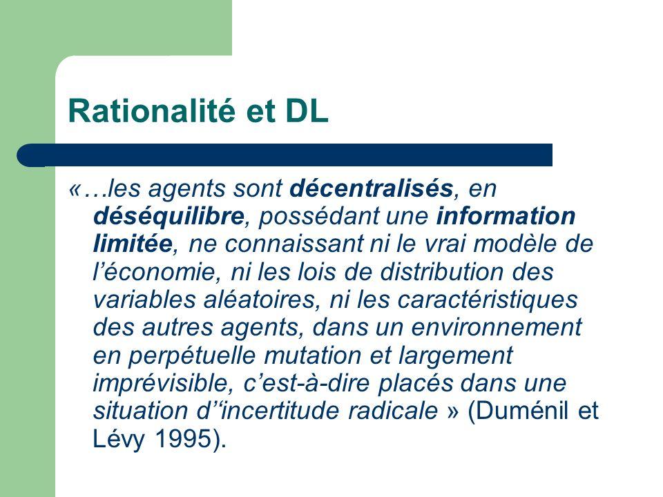 Rationalité et DL «…les agents sont décentralisés, en déséquilibre, possédant une information limitée, ne connaissant ni le vrai modèle de léconomie,