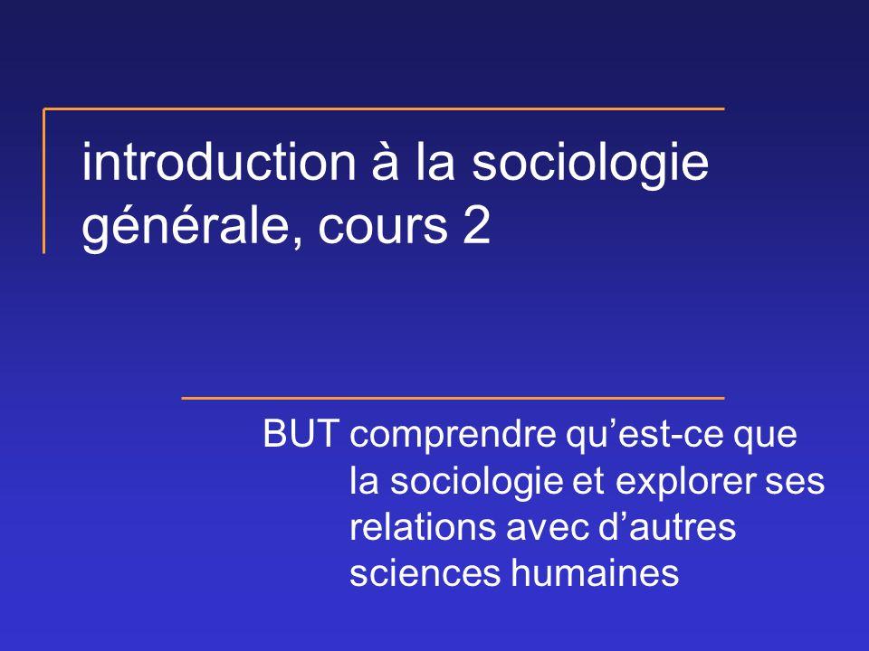 introduction à la sociologie générale, cours 2 BUTcomprendre quest-ce que la sociologie et explorer ses relations avec dautres sciences humaines