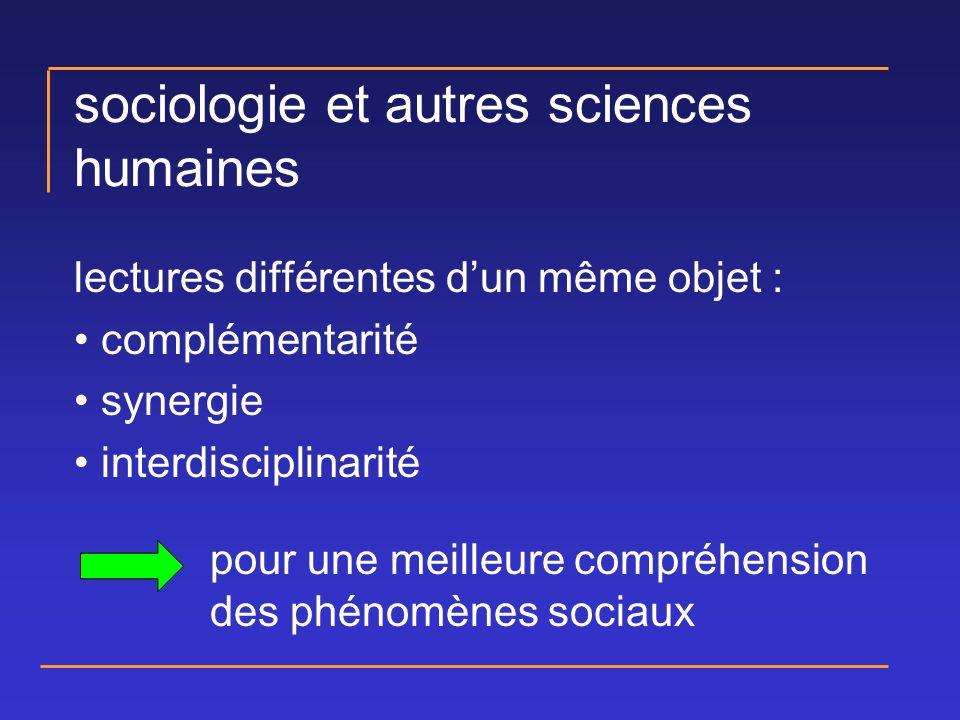 sociologie et autres sciences humaines lectures différentes dun même objet : complémentarité synergie interdisciplinarité pour une meilleure compréhension des phénomènes sociaux