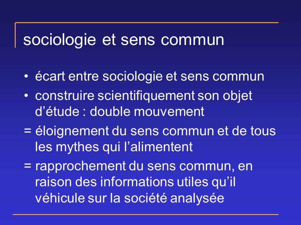 sociologie et sens commun écart entre sociologie et sens commun construire scientifiquement son objet détude : double mouvement = éloignement du sens commun et de tous les mythes qui lalimentent = rapprochement du sens commun, en raison des informations utiles quil véhicule sur la société analysée
