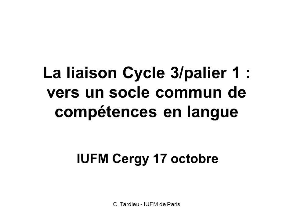 C. Tardieu - IUFM de Paris Autrement dit…