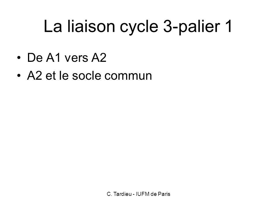 C. Tardieu - IUFM de Paris La liaison cycle 3-palier 1 De A1 vers A2 A2 et le socle commun