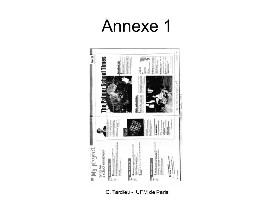 C. Tardieu - IUFM de Paris Annexe 1