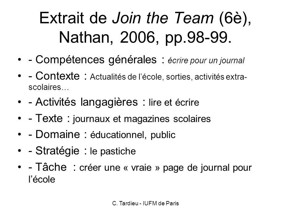 C. Tardieu - IUFM de Paris Annexe 2