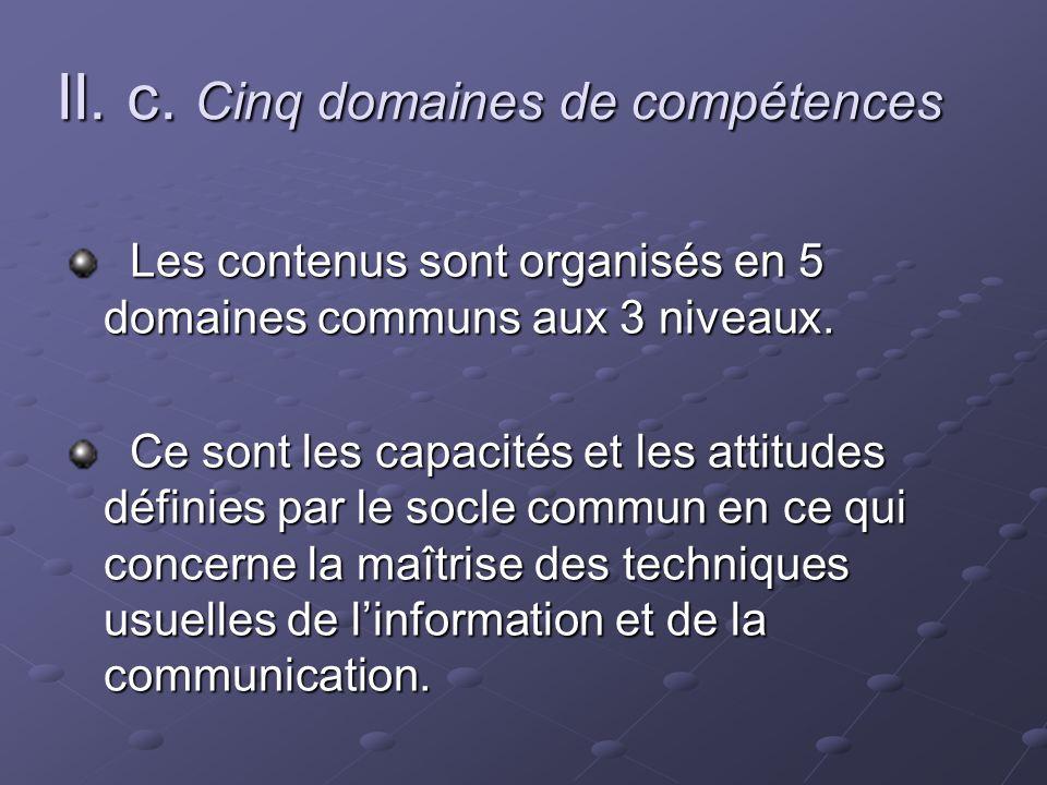 II. c. Cinq domaines de compétences Les contenus sont organisés en 5 domaines communs aux 3 niveaux. Les contenus sont organisés en 5 domaines communs