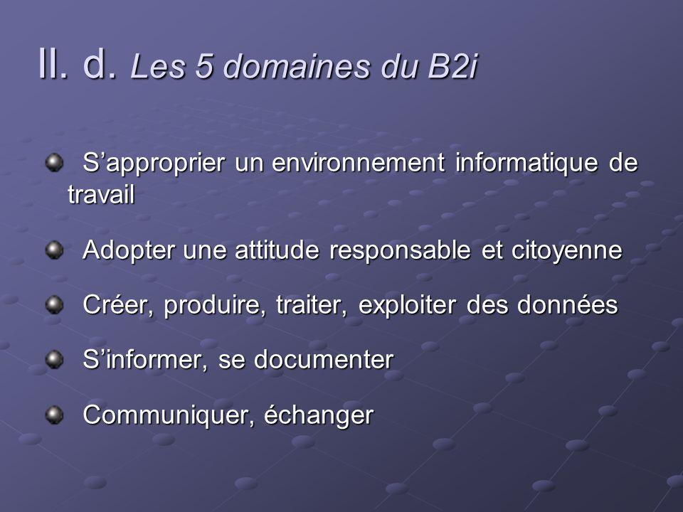 II. d. Les 5 domaines du B2i Sapproprier un environnement informatique de travail Sapproprier un environnement informatique de travail Adopter une att