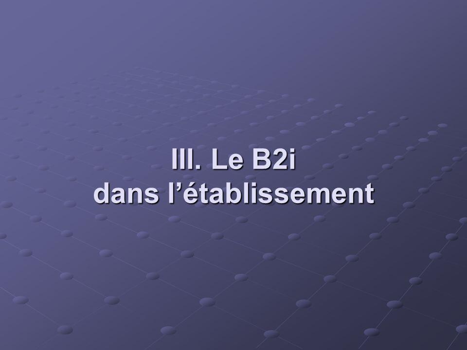 III. Le B2i dans létablissement