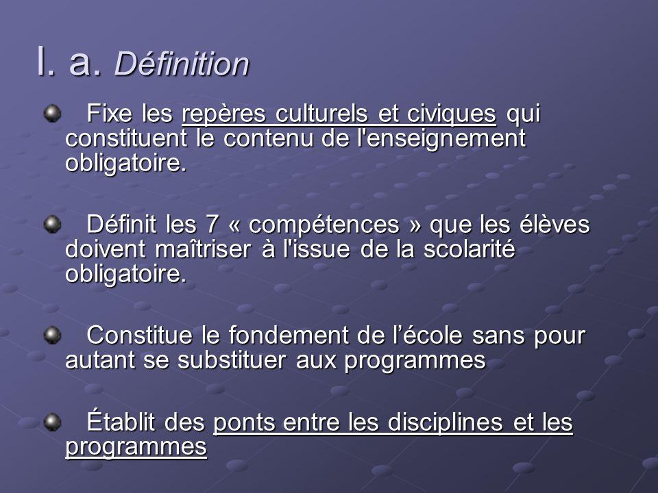 I. a. Définition Fixe les repères culturels et civiques qui constituent le contenu de l'enseignement obligatoire. Fixe les repères culturels et civiqu