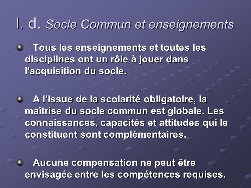 I. d. Socle Commun et enseignements Tous les enseignements et toutes les disciplines ont un rôle à jouer dans l'acquisition du socle. Tous les enseign