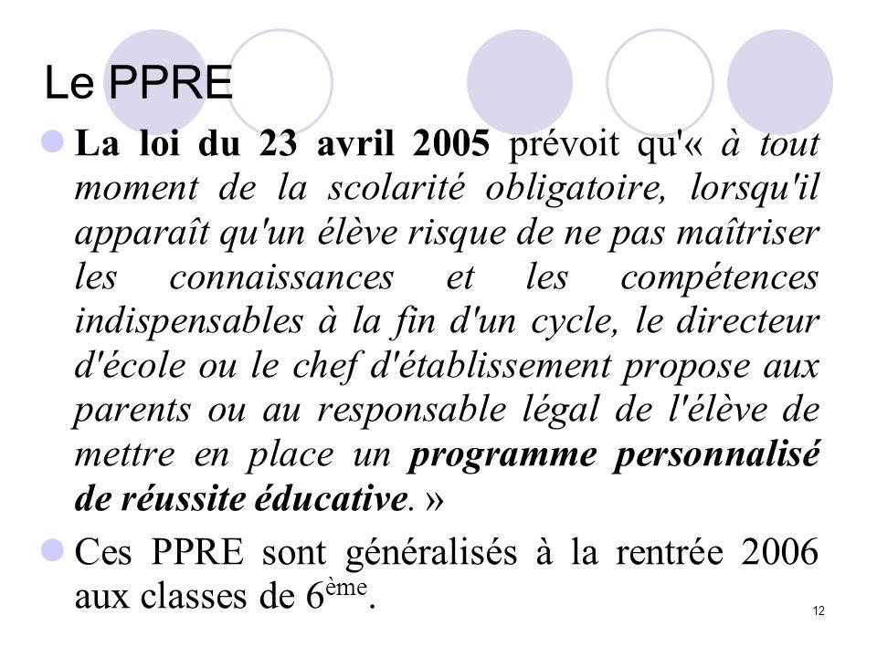12 Le PPRE La loi du 23 avril 2005 prévoit qu'« à tout moment de la scolarité obligatoire, lorsqu'il apparaît qu'un élève risque de ne pas maîtriser l