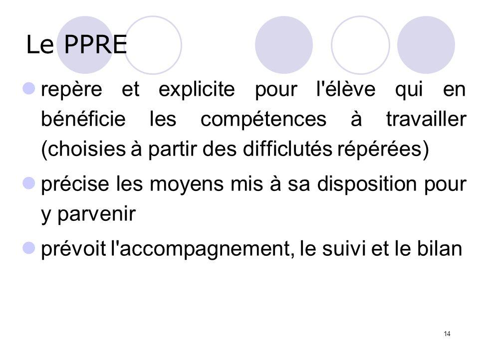 14 Le PPRE repère et explicite pour l'élève qui en bénéficie les compétences à travailler (choisies à partir des difficlutés répérées) précise les moy
