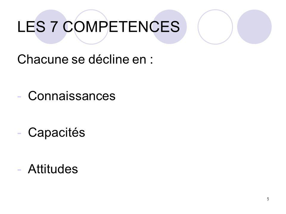5 LES 7 COMPETENCES Chacune se décline en : -Connaissances -Capacités -Attitudes