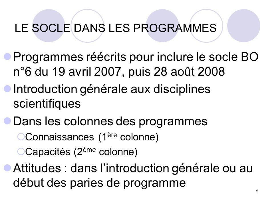 9 LE SOCLE DANS LES PROGRAMMES Programmes réécrits pour inclure le socle BO n°6 du 19 avril 2007, puis 28 août 2008 Introduction générale aux discipli