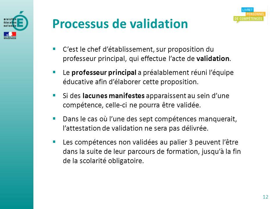 Processus de validation Cest le chef détablissement, sur proposition du professeur principal, qui effectue lacte de validation. Le professeur principa