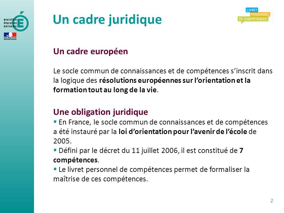 Un cadre européen Le socle commun de connaissances et de compétences sinscrit dans la logique des résolutions européennes sur lorientation et la forma