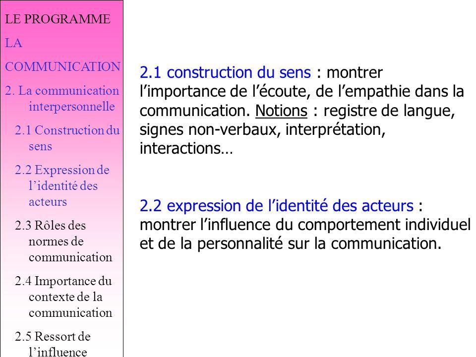LE PROGRAMME LA COMMUNICATION 2.