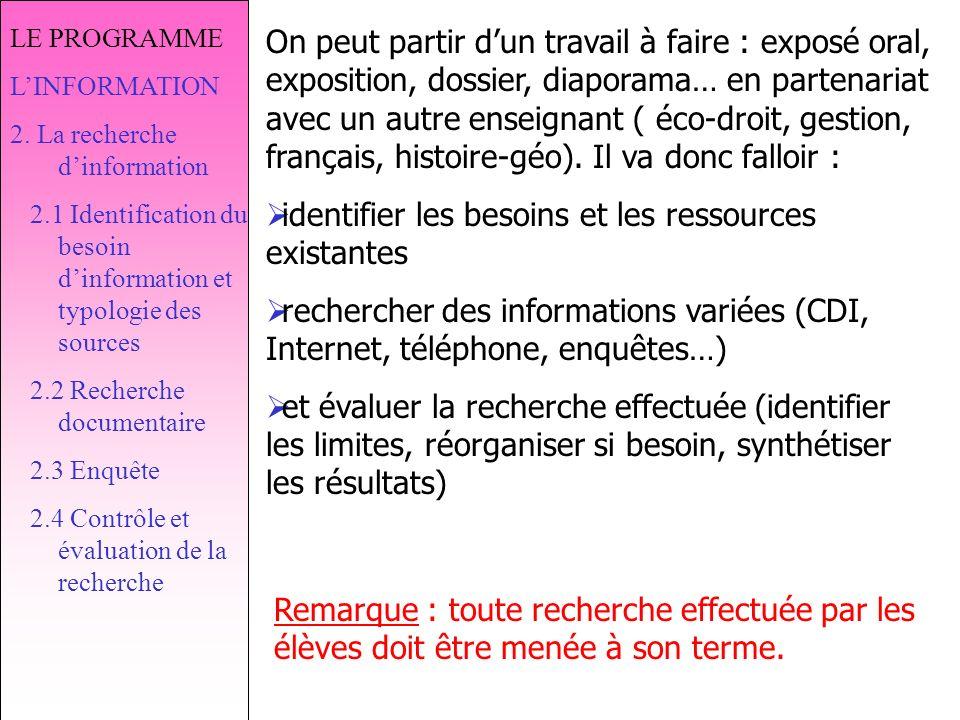 LE PROGRAMME LINFORMATION 2.