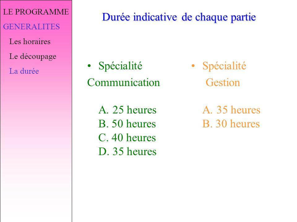 LE PROGRAMME GENERALITES Les horaires Le découpage La durée Durée indicative de chaque partie Spécialité Communication A.