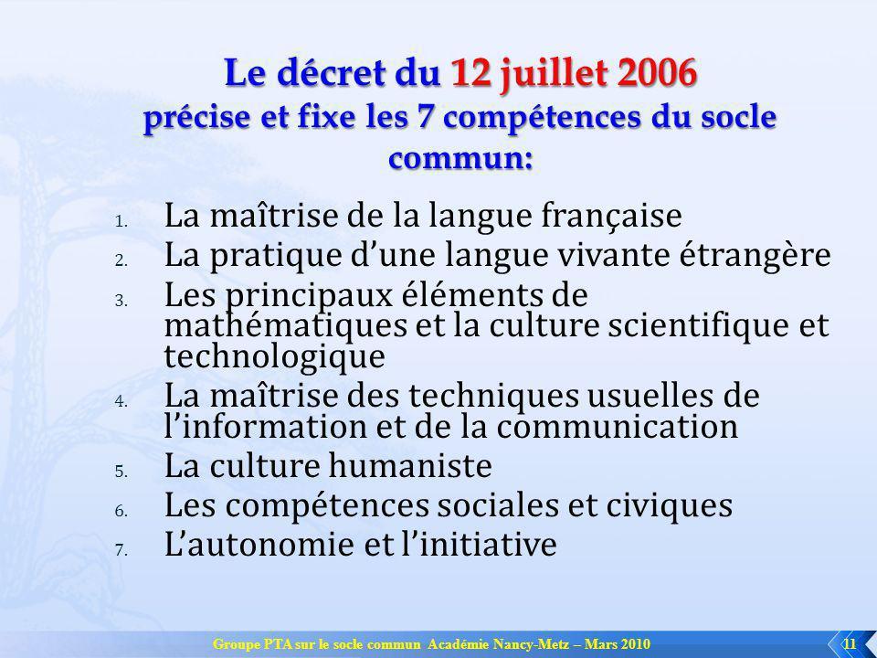 Groupe PTA sur le socle commun Académie Nancy-Metz – Mars 201011 1. La maîtrise de la langue française 2. La pratique dune langue vivante étrangère 3.