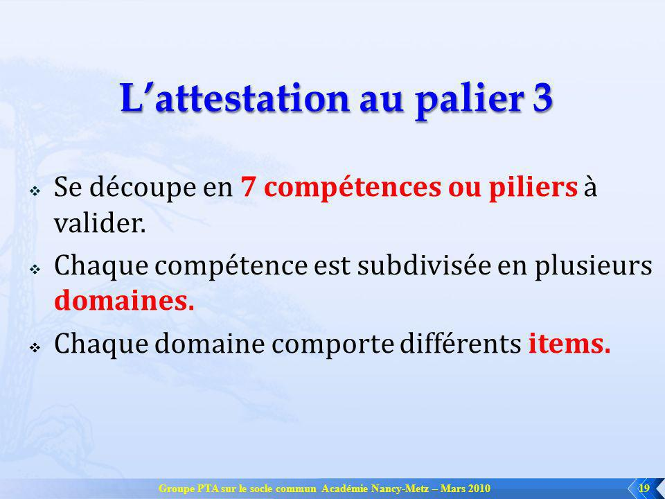 Groupe PTA sur le socle commun Académie Nancy-Metz – Mars 201019 Lattestation au palier 3 Se découpe en 7 compétences ou piliers à valider. Chaque com