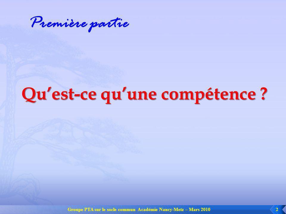 Groupe PTA sur le socle commun Académie Nancy-Metz – Mars 20103 Pour le Parlement Européen : « On entend par compétence, une combinaison de connaissances, daptitudes et dattitudes appropriées à une situation donnée.