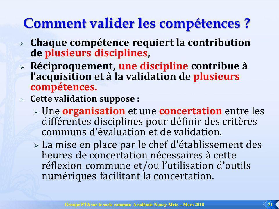 Groupe PTA sur le socle commun Académie Nancy-Metz – Mars 201021 Comment valider les compétences ? Chaque compétence requiert la contribution de plusi