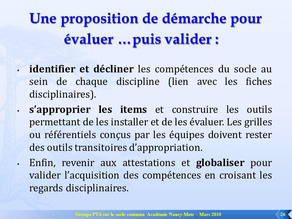 Groupe PTA sur le socle commun Académie Nancy-Metz – Mars 201026 Une proposition de démarche pour évaluer …puis valider : Une proposition de démarche
