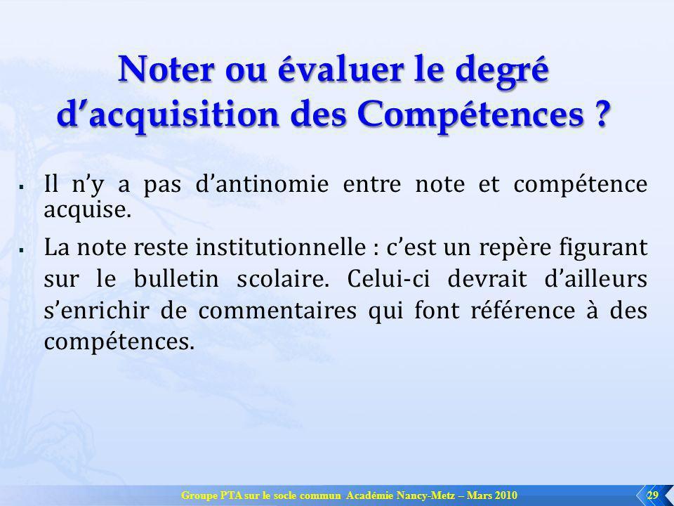 Groupe PTA sur le socle commun Académie Nancy-Metz – Mars 201029 Noter ou évaluer le degré dacquisition des Compétences ? Il ny a pas dantinomie entre
