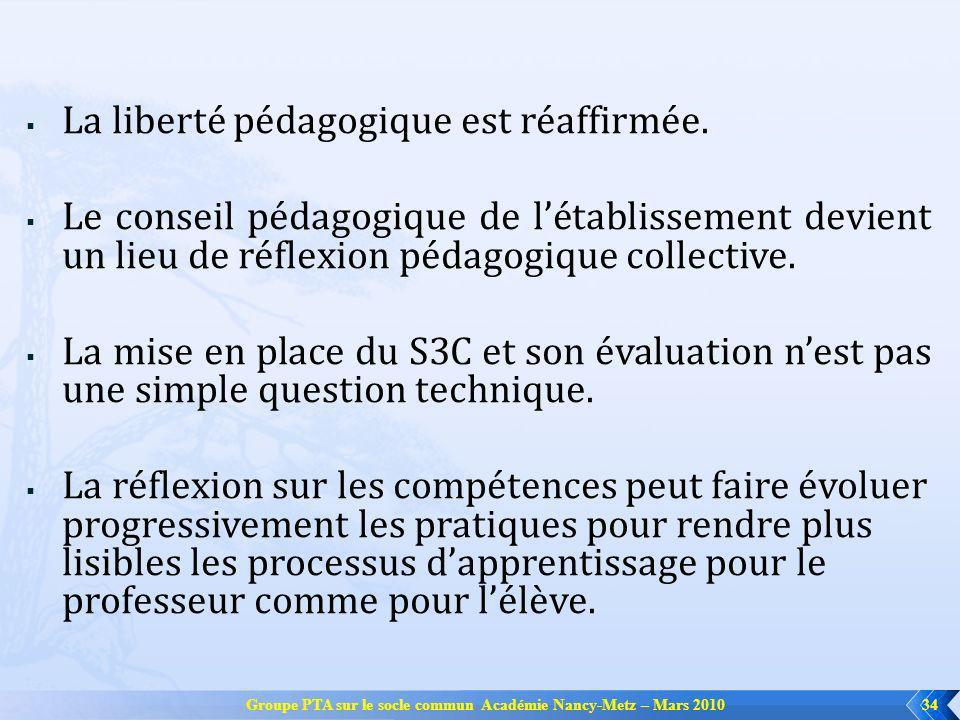 Groupe PTA sur le socle commun Académie Nancy-Metz – Mars 201034 La liberté pédagogique est réaffirmée. Le conseil pédagogique de létablissement devie