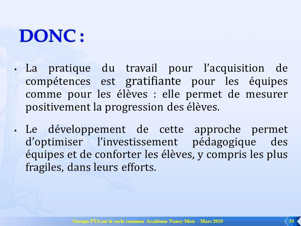 Groupe PTA sur le socle commun Académie Nancy-Metz – Mars 201035 La pratique du travail pour lacquisition de compétences est gratifiante pour les équipes comme pour les élèves : elle permet de mesurer positivement la progression des élèves.