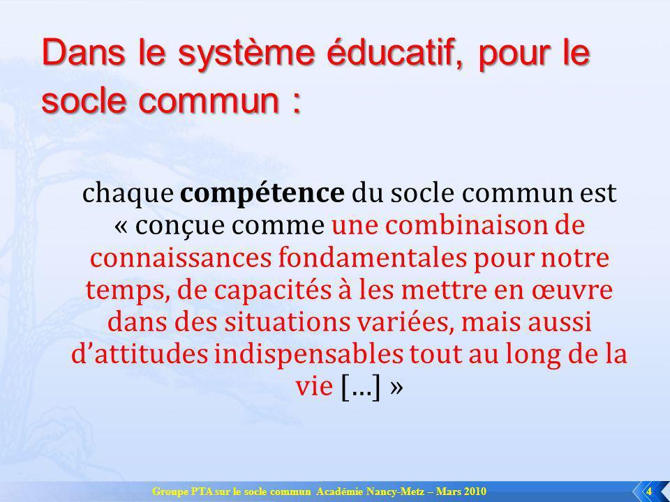 Un peu dhistoire… Groupe PTA sur le socle commun Académie Nancy-Metz – Mars 20105