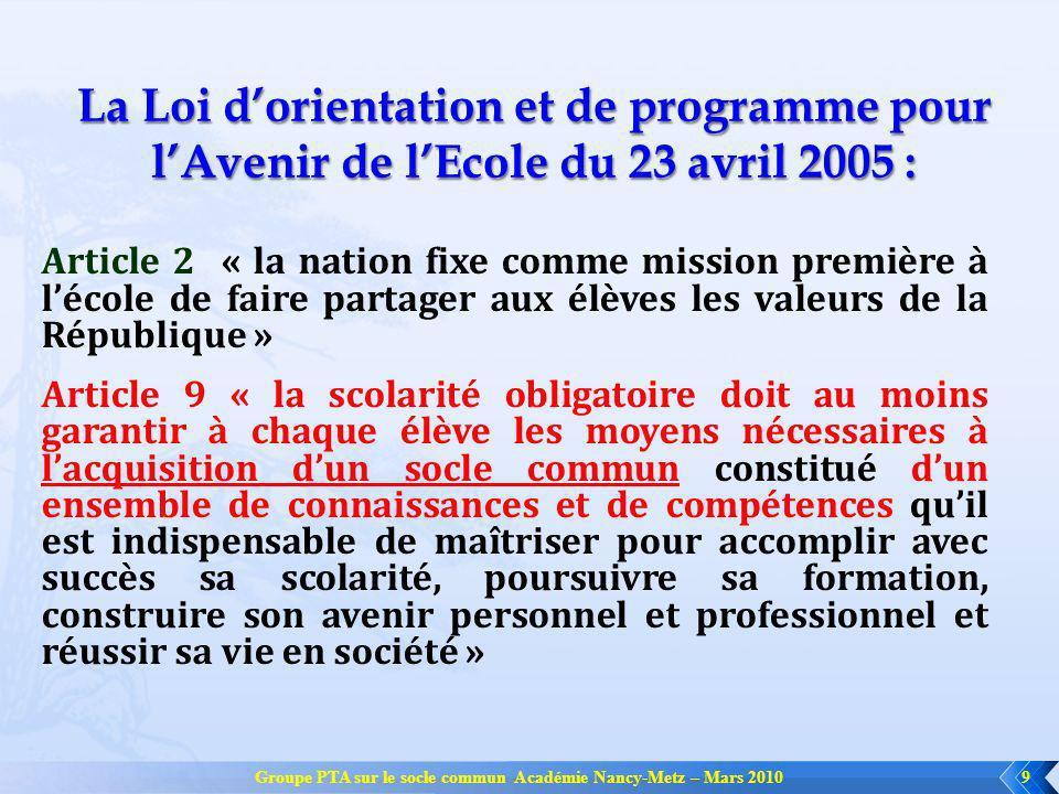 Groupe PTA sur le socle commun Académie Nancy-Metz – Mars 20109 La Loi dorientation et de programme pour lAvenir de lEcole du 23 avril 2005 : Article