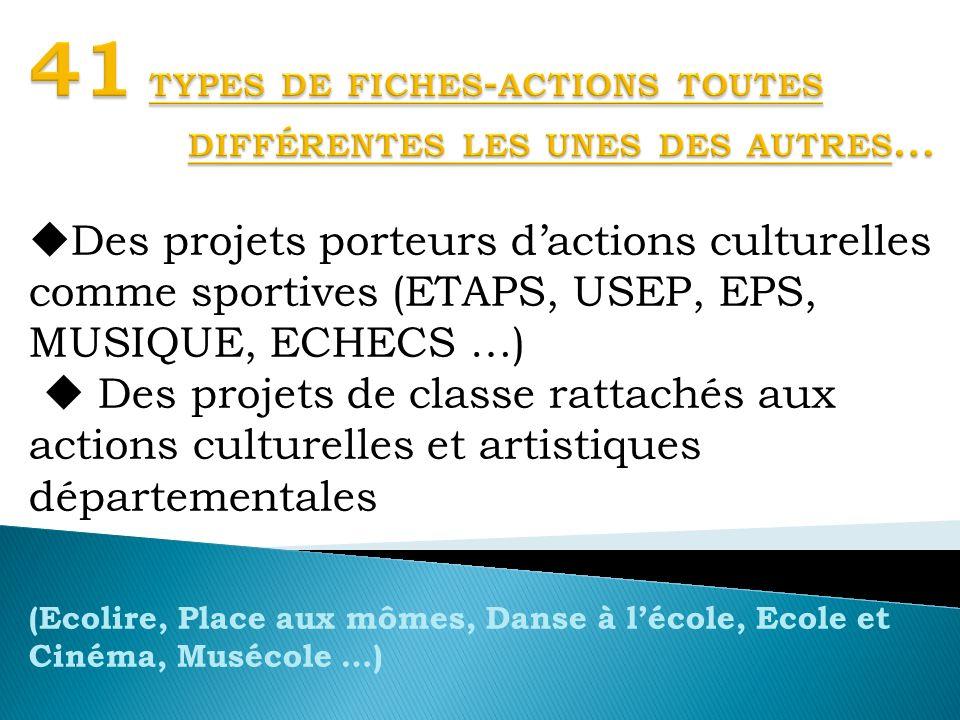 Des projets porteurs dactions culturelles comme sportives (ETAPS, USEP, EPS, MUSIQUE, ECHECS …) Des projets de classe rattachés aux actions culturelle