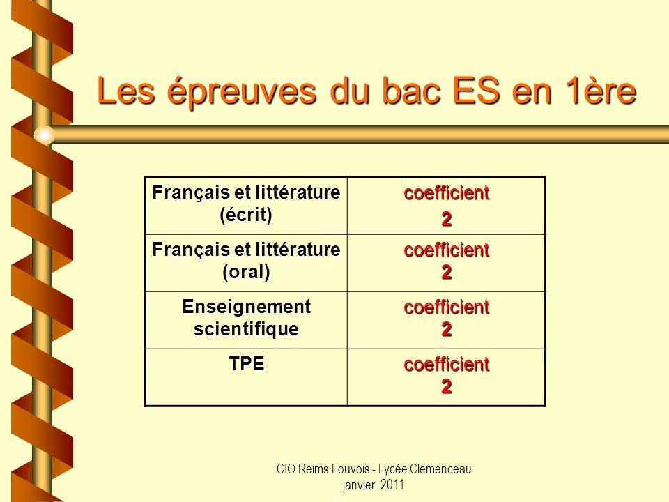 CIO Reims Louvois - Lycée Clemenceau janvier 2011 Les épreuves du bac ES en 1ère Français et littérature (écrit) coefficient2 Français et littérature