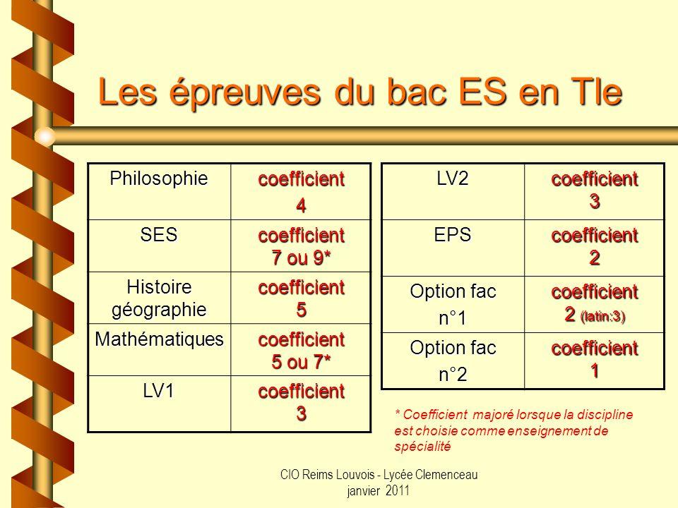 CIO Reims Louvois - Lycée Clemenceau janvier 2011 Les épreuves du bac ES en Tle LV2coefficient3 EPScoefficient2 Option fac n°1coefficient 2 (latin:3)