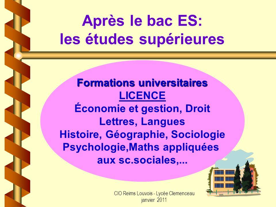 CIO Reims Louvois - Lycée Clemenceau janvier 2011 Après le bac ES: les études supérieures Formations universitaires LICENCE Économie et gestion, Droit