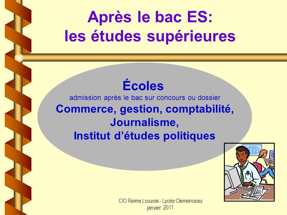 CIO Reims Louvois - Lycée Clemenceau janvier 2011 Après le bac ES: les études supérieures Écoles admission après le bac sur concours ou dossier Commer