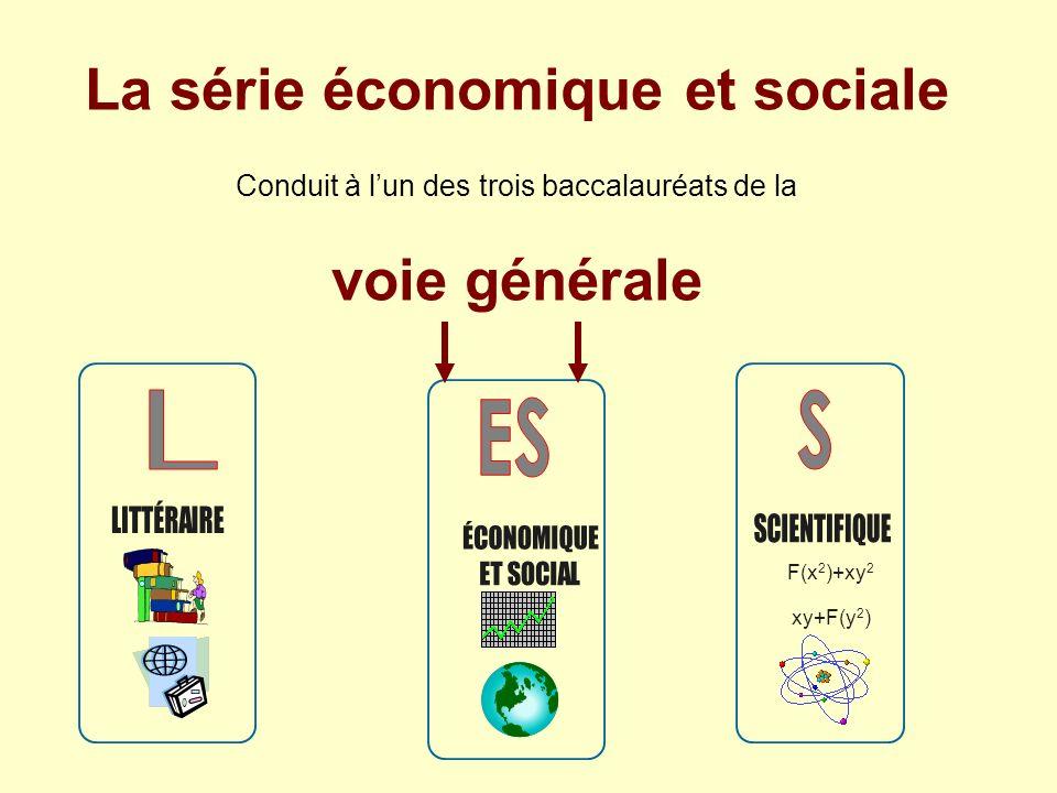 F(x 2 )+xy 2 xy+F(y 2 ) La série économique et sociale Conduit à lun des trois baccalauréats de la voie générale