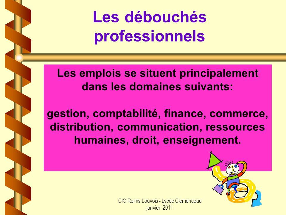 CIO Reims Louvois - Lycée Clemenceau janvier 2011 Les débouchés professionnels Les emplois se situent principalement dans les domaines suivants: gesti