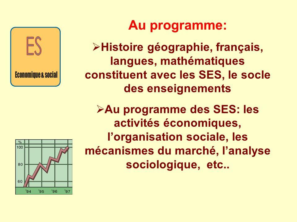 Au programme: Histoire géographie, français, langues, mathématiques constituent avec les SES, le socle des enseignements Au programme des SES: les act